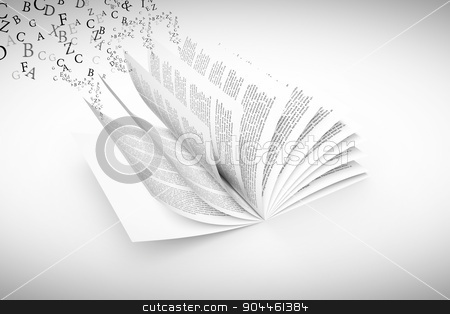 Composite image of letters stock photo, letters against open book by Wavebreak Media