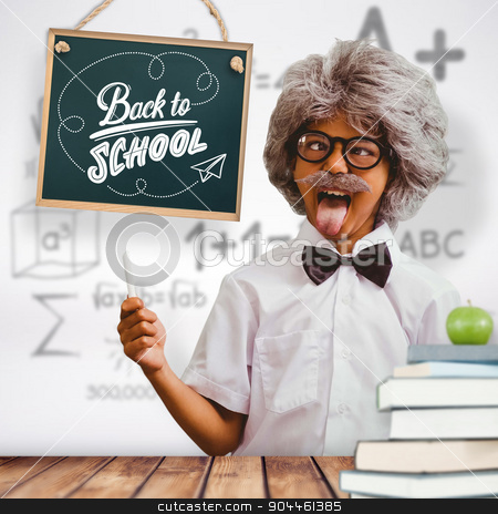 Composite image of pupil dressed up in wig stock photo, Pupil dressed up in wig against wooden planks background by Wavebreak Media