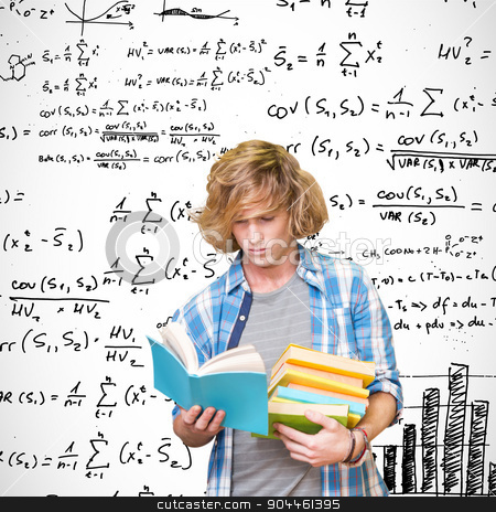 Composite image of student reading stock photo, Student reading against maths equations by Wavebreak Media