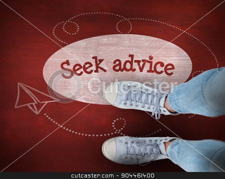 Seek advice against desk stock photo, The word seek advice and woman wearing trainers  against desk by Wavebreak Media