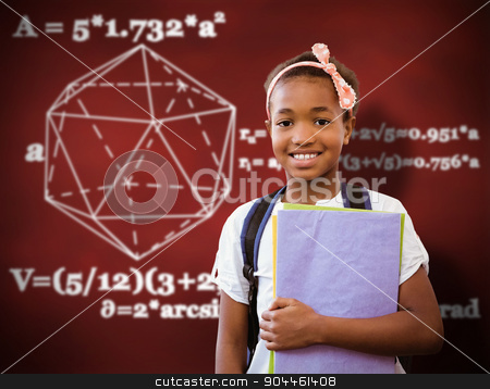 Composite image of little girl holding folders in school corrido stock photo, Little girl holding folders in school corridor against desk by Wavebreak Media