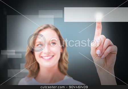 Composite image of pretty woman pointing with her finger  stock photo, Pretty woman pointing with her finger  against blue background with vignette by Wavebreak Media