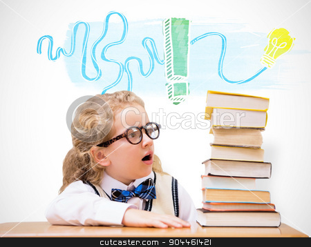 Composite image of surprise pupil looking at books stock photo, Surprise pupil looking at books against white background with vignette by Wavebreak Media