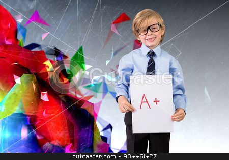 Composite image of cute pupil showing a plus grade stock photo, Cute pupil showing a plus grade against geometric design by Wavebreak Media