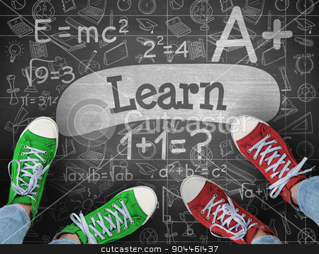 Learn against black background stock photo, The word learn and casual shoes against black background by Wavebreak Media