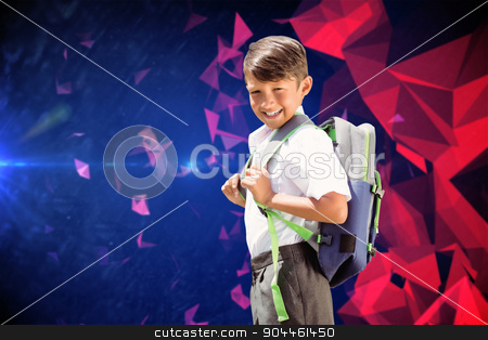 Composite image of cute pupil walking to the school bus stock photo, Cute pupil walking to the school bus against dark abstract design by Wavebreak Media