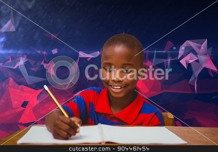 Composite image of pupil working at desk stock photo, Pupil working at desk against dark abstract design by Wavebreak Media