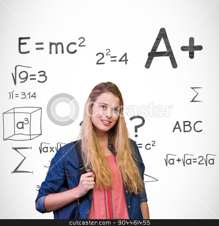 Composite image of pretty student in the library stock photo, Pretty student in the library against math doodles by Wavebreak Media