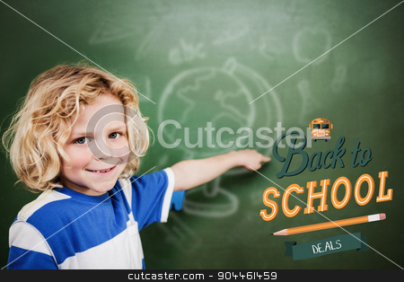 Composite image of back to school stock photo, back to school against cute pupil pointing by Wavebreak Media