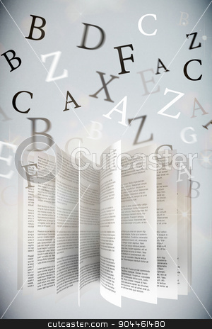 Composite image of letters stock photo, letters against shimmering light design on grey by Wavebreak Media