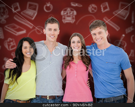 Composite image of four friends smiling and embracing each other stock photo, Four friends smiling and embracing each other as they look into the camera against desk by Wavebreak Media