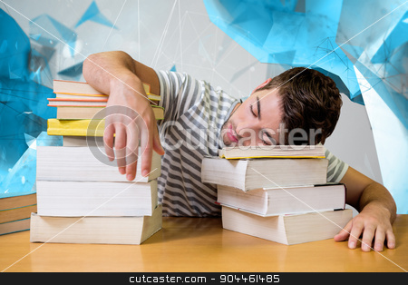 Composite image of student asleep in the library stock photo, Student asleep in the library against angular design by Wavebreak Media