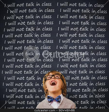 Composite image of cute pupil dressed up as teacher stock photo, Cute pupil dressed up as teacher against blackboard by Wavebreak Media