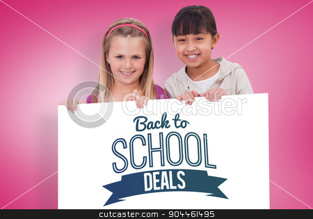 Composite image of girls behind a blank panel stock photo, Girls behind a blank panel against pink vignette by Wavebreak Media