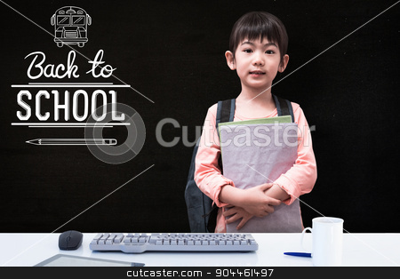 Composite image of cute pupil looking at camera holding notepad  stock photo, Cute pupil looking at camera holding notepad  against black by Wavebreak Media