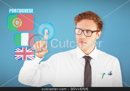 Composite image of geeky businessman smiling and pointing stock photo, Geeky businessman smiling and pointing against blue background by Wavebreak Media