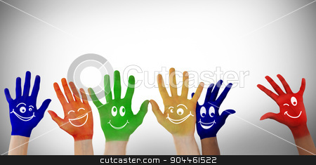 Composite image of hands with colourful smiley faces stock photo, Hands with colourful smiley faces against white background with vignette by Wavebreak Media