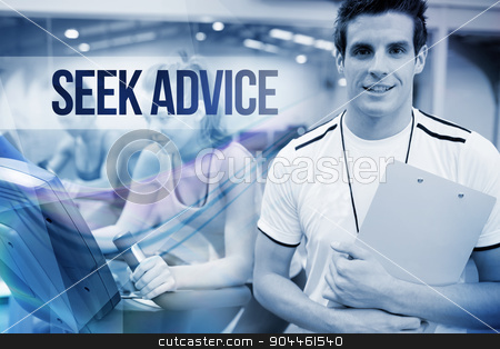 Seek advice against spinning class instructor holding clipboard stock photo, The word seek advice against spinning class instructor holding clipboard by Wavebreak Media