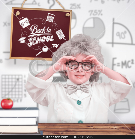 Composite image of cute pupil in lab coat  stock photo, Cute pupil in lab coat  against wooden planks background by Wavebreak Media
