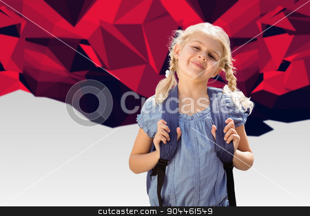 Composite image of school kid stock photo, School kid against red abstract design by Wavebreak Media