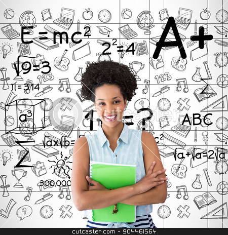 Composite image of portrait of smiling young woman with file stock photo, Portrait of smiling young woman with file against maths by Wavebreak Media