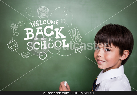 Composite image of back to school stock photo, back to school against cute pupil holding chalk by Wavebreak Media
