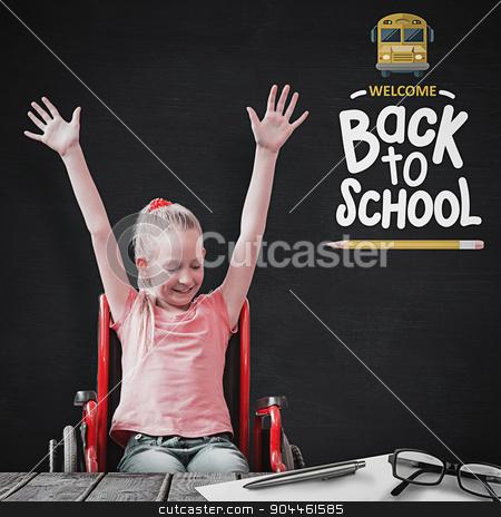 Composite image of cute disabled pupil smiling in hall stock photo, Cute disabled pupil smiling in hall against blackboard by Wavebreak Media
