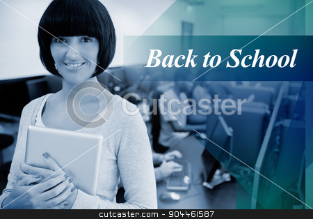 Back to school against teacher with tablet pc stock photo, The word back to school against teacher with tablet pc by Wavebreak Media