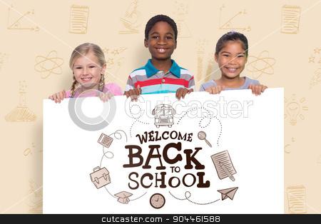 Composite image of happy pupils showing stock photo, Happy pupils showing against back to school by Wavebreak Media