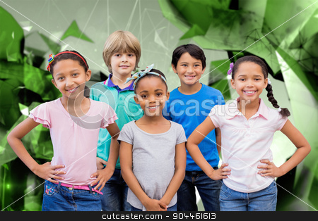Composite image of cute pupils smiling at camera in classroom stock photo, Cute pupils smiling at camera in classroom against angular design by Wavebreak Media