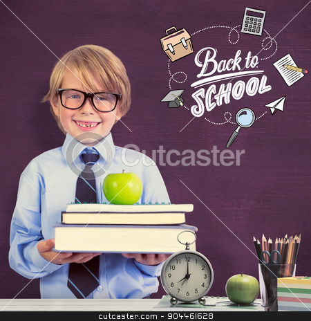 Composite image of cute pupil holding books and apple stock photo, Cute pupil holding books and apple against green chalkboard by Wavebreak Media