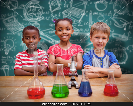 Composite image of cute pupils standing with arms crossed behind stock photo, Cute pupils standing with arms crossed behind beaker against green chalkboard by Wavebreak Media