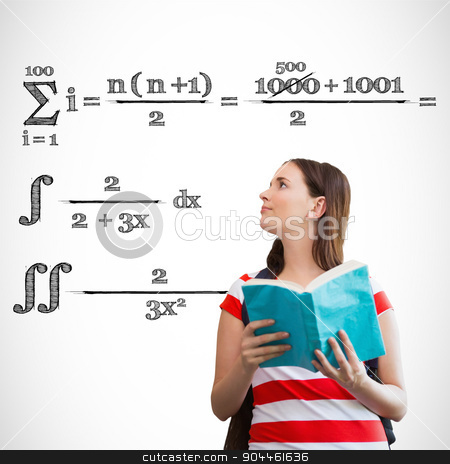 Composite image of student reading book in library stock photo, Student reading book in library against maths equation by Wavebreak Media
