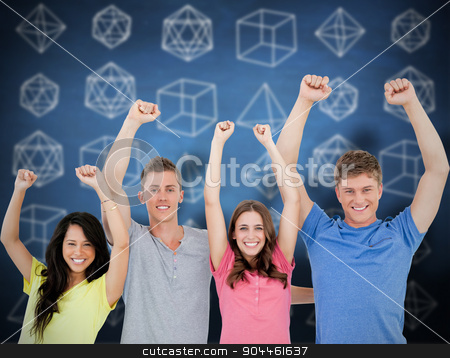 Composite image of a smiling group of people looking at the came stock photo, A smiling group of people looking at the camera and celebrating against blue chalkboard by Wavebreak Media