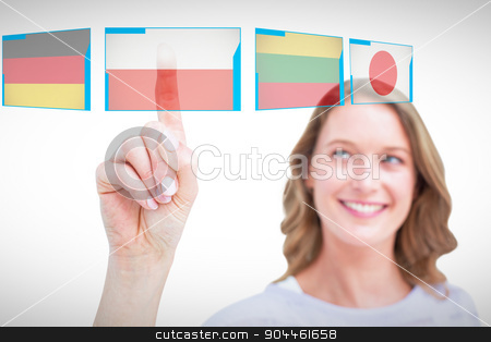 Composite image of pretty woman pointing with her finger  stock photo, Pretty woman pointing with her finger  against interface by Wavebreak Media