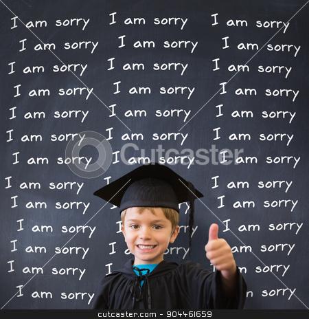 Composite image of cute pupil in graduation robe stock photo, Cute pupil in graduation robe against black background by Wavebreak Media