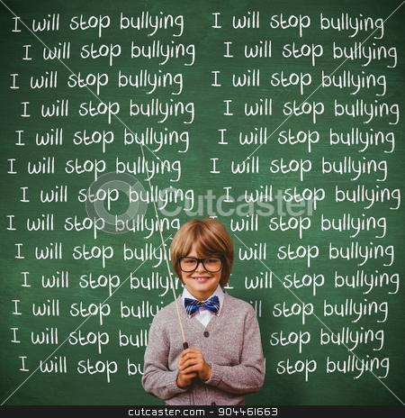 Composite image of cute kid dressed up as teacher stock photo, Cute kid dressed up as teacher against green chalkboard by Wavebreak Media