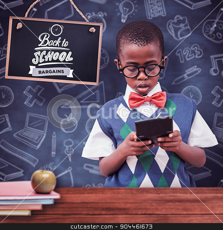 Composite image of pupil with calculator stock photo, Pupil with calculator against overhead of wooden planks by Wavebreak Media