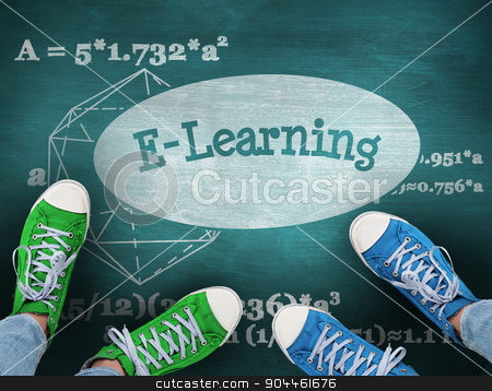 E-learning against green chalkboard stock photo, The word e-learning and casual shoes against green chalkboard by Wavebreak Media