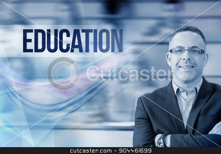 Education against elegant teacher with students sitting at lectu stock photo, The word education against elegant teacher with students sitting at lecture hall by Wavebreak Media
