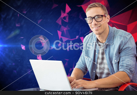 Composite image of hipster on laptop stock photo, Hipster on laptop against dark abstract design by Wavebreak Media