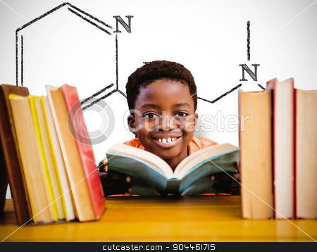 Composite image of cute boy reading book in library stock photo, Cute boy reading book in library against white background with vignette by Wavebreak Media