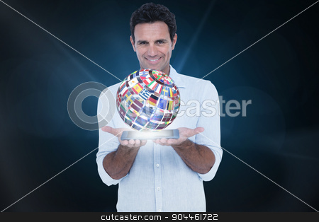 Composite image of portrait of smiling man showing tablet comput stock photo, Portrait of smiling man showing tablet computer against blue background with vignette by Wavebreak Media