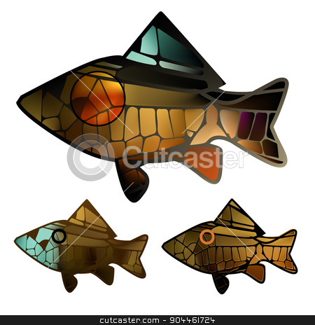 stained glass mosaic  gold bright colorful marine fish  stock vector clipart, stained glass mosaic  to any surface with gold bright colorful marine fish  by BELL1313
