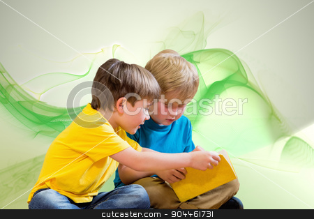 Composite image of pupils reading book stock photo, Pupils reading book against green abstract design by Wavebreak Media