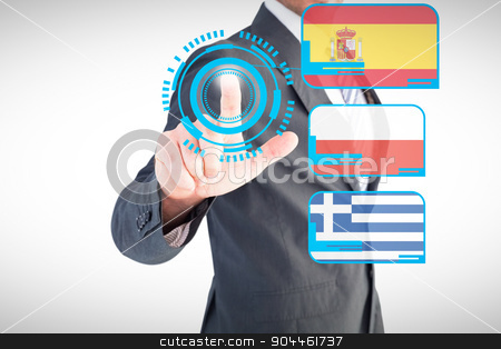 Composite image of businessman pointing with his finger stock photo, Businessman pointing with his finger against interface by Wavebreak Media