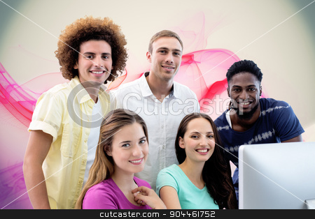 Composite image of smiling students in computer class stock photo, Smiling students in computer class against pink abstract design by Wavebreak Media