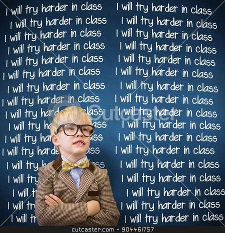 Composite image of cute pupil dressed up as teacher  stock photo, Cute pupil dressed up as teacher  against blue chalkboard by Wavebreak Media