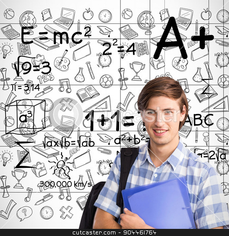 Composite image of smiling student stock photo, Smiling student against maths by Wavebreak Media
