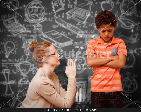 Composite image of teacher begging boy stock photo, Teacher begging boy against black background by Wavebreak Media